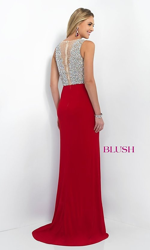 Image of Floor-Length Gown with Beaded Illusion Top Style: BL-11009 Back Image