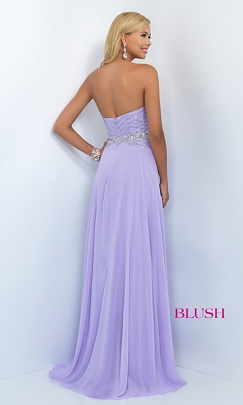 Image of Classic Strapless Long Formal Ball Gown Style: BL-11070 Back Image