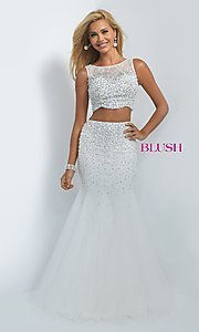 Image of two-piece off-white sleeveless mermaid prom dress Style: BL-11003 Front Image