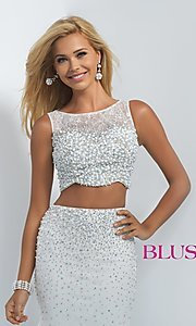 Image of two-piece off-white sleeveless mermaid prom dress Style: BL-11003 Detail Image 1