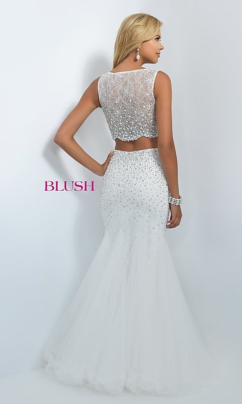 Image of two-piece off-white sleeveless mermaid prom dress Style: BL-11003 Back Image