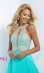 Image of Jewel Embellished Floor Length Prom Gown Style: BL-11085 Detail Image 1
