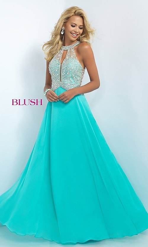 Image of Jewel Embellished Floor Length Prom Gown Style: BL-11085 Front Image