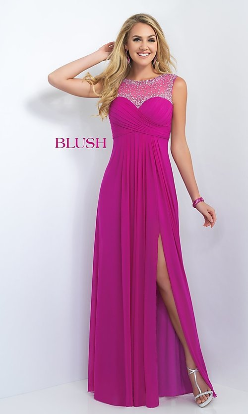 Image of Long Formal Dress With Beaded Illusion Back by Blush Style: BL-11096 Detail Image 1