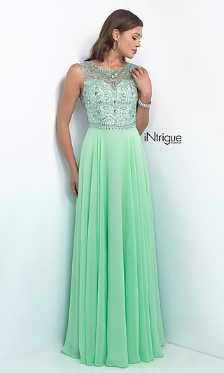 Intrigue by Blush Floor-Length Beaded Formal Gown