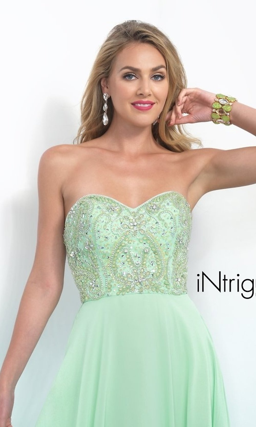 Intrigue By Blush Floor Length Strapless Dress