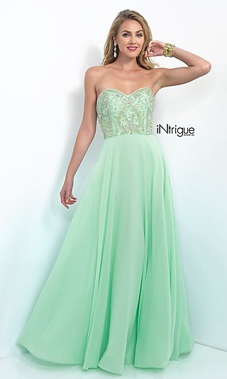 Intrigue by Blush Mint Green A-Line Long Prom Dress