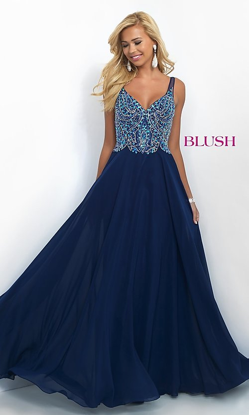 Image of floor-length classic v-neck chiffon gown by Blush. Style: BL-11058 Front Image