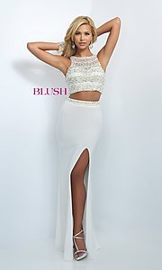 Image of two-piece pearl-embellished long formal gown. Style: BL-11065 Front Image