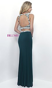 Image of two-piece pearl-embellished long formal gown. Style: BL-11065 Back Image