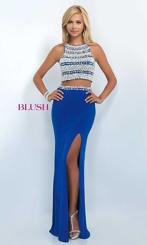 Image of two-piece pearl-embellished long formal gown. Style: BL-11065 Detail Image 1