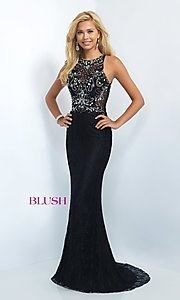 Image of Long Lace Beaded Bodice Formal Gown Style: BL-11111 Front Image