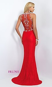 Image of Long Lace Beaded Bodice Formal Gown Style: BL-11111 Back Image