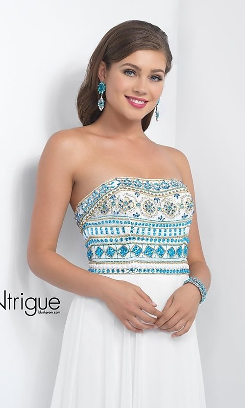 Image of iNtrigue by Blush strapless formal prom dress. Style: BL-IN-161 Detail Image 1