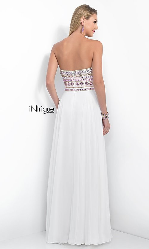Image of iNtrigue by Blush strapless formal prom dress. Style: BL-IN-161 Back Image