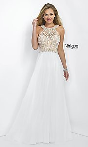 Image of Intrigue by Blush floor-length white formal gown Style: BL-IN-130 Front Image