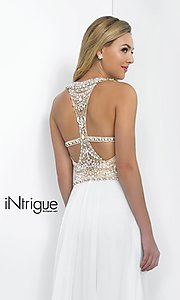 Image of Intrigue by Blush floor-length white formal gown Style: BL-IN-130 Detail Image 1