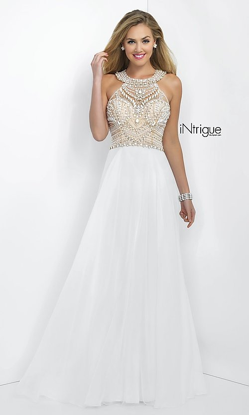 Blush Floor Length Beaded White Gown