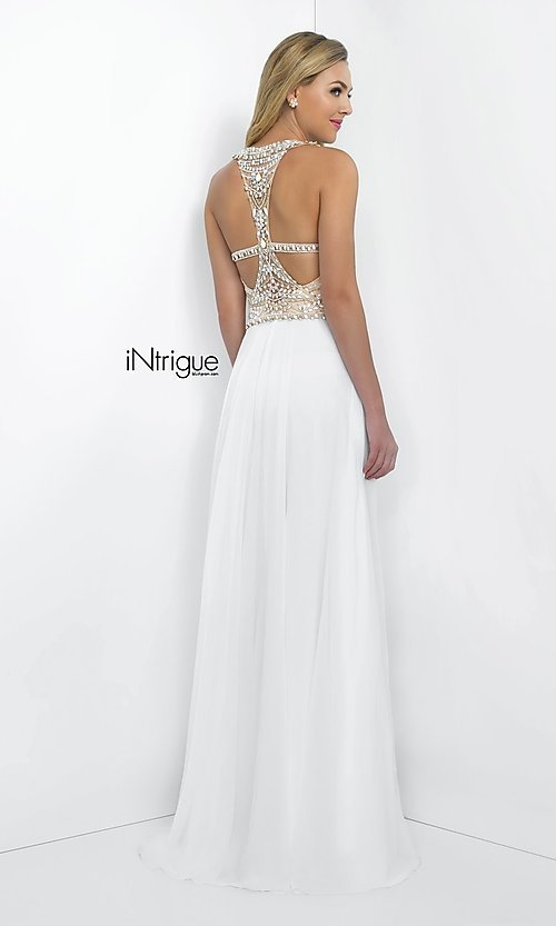 Image of Intrigue by Blush floor-length white formal gown Style: BL-IN-130 Back Image