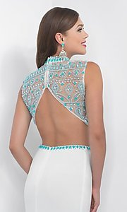 Image of two-piece white and turquoise designer prom dress. Style: BL-IN-170 Detail Image 2