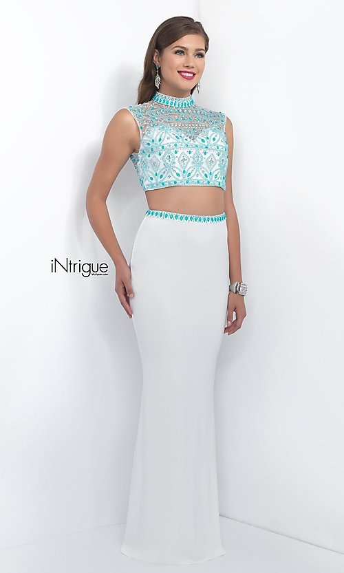 Image of two-piece white and turquoise designer prom dress. Style: BL-IN-170 Front Image