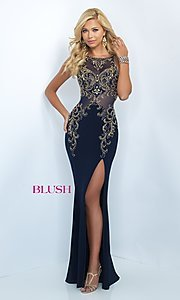 Image of long Blush formal gown with embroidered beading. Style: BL-11038 Front Image