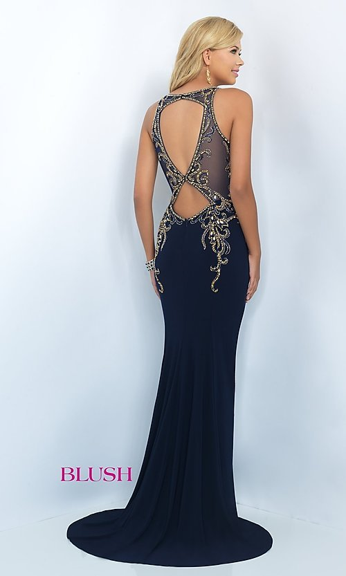 Image of long Blush formal gown with embroidered beading. Style: BL-11038 Back Image