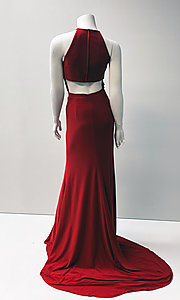 Image of long open-back sleeveless formal red gown. Style: SH-32340 Back Image