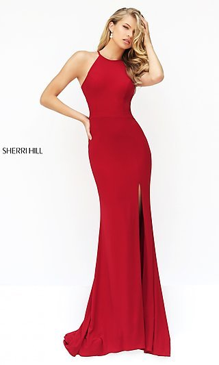 Sherri Hill Long Open-Back Sleeveless Dress