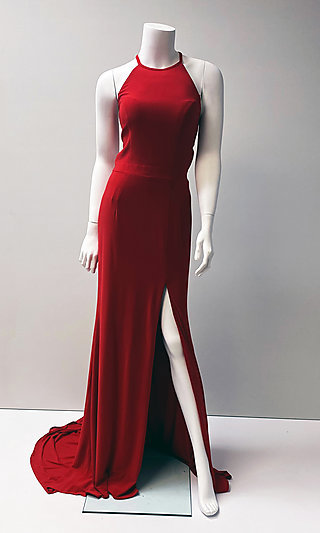 Long Open-Back Sleeveless Formal Red Gown