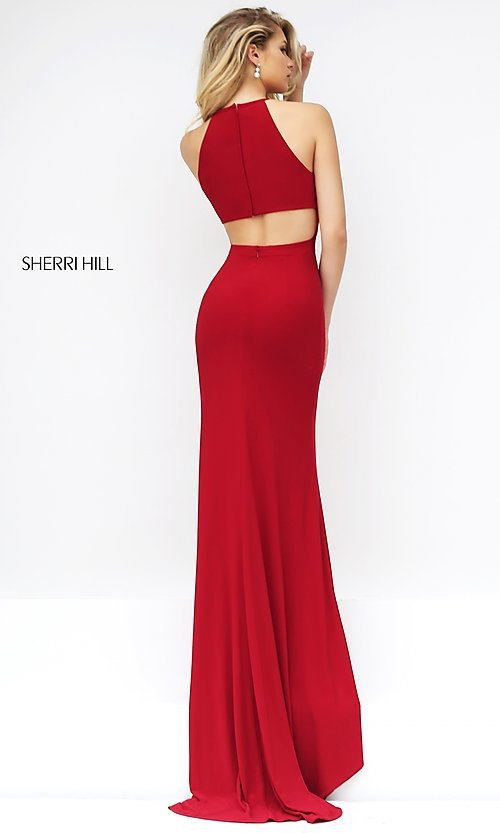 Image of Sherri Hill floor-length open-back dress Style: SH-32340 Back Image