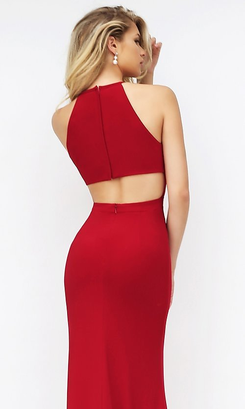Image of Sherri Hill floor-length open-back dress Style: SH-32340 Detail Image 2