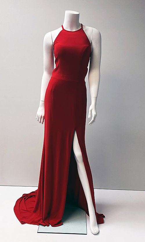 Image of long open-back sleeveless formal red gown. Style: SH-32340 Front Image