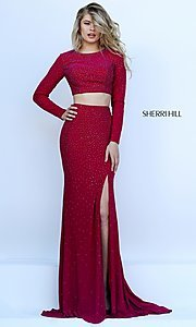 Image of Long Sleeve Two Piece Formal Gown Style: SH-50077 Front Image