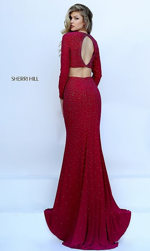 Two Piece Long Sleeve Sherri Hill Formal Gown