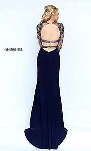 Image of two-piece long-sleeve navy-blue evening dress Style: SH-50097 Back Image