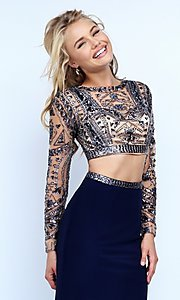Image of two-piece long-sleeve navy-blue evening dress Style: SH-50097 Detail Image 1