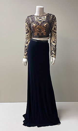 Two-Piece Long-Sleeve Navy Blue Formal Gown