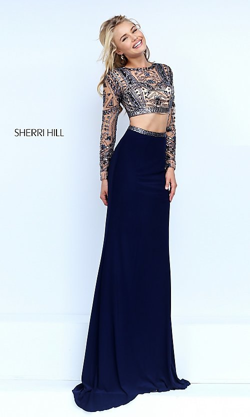 Image of two-piece long-sleeve navy-blue evening dress Style: SH-50097 Front Image