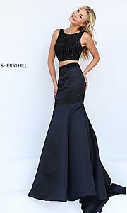 Image of Sherri Hill two-piece black dress. Style: SH-50098 Front Image
