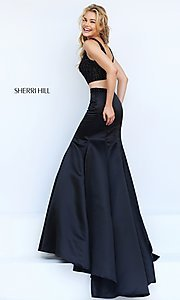 Image of Sherri Hill two-piece black dress. Style: SH-50098 Back Image