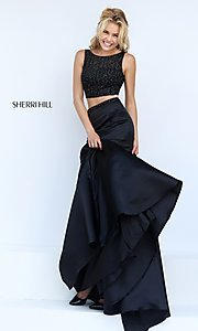 Image of Sherri Hill two-piece black dress. Style: SH-50098 Detail Image 1