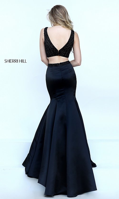 Image of Sherri Hill two-piece black dress. Style: SH-50098 Detail Image 2