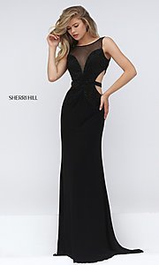 black formal long gown with cut-outs Style: SH-50163 Front Image