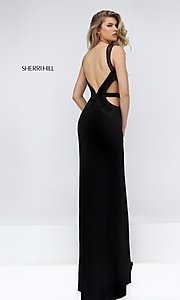 black formal long gown with cut-outs Style: SH-50163 Back Image