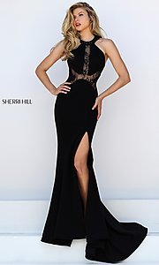 Image of Floor Length Black Lace Formal Gown Style: SH-50201 Front Image