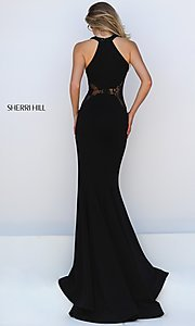 Image of Floor Length Black Lace Formal Gown Style: SH-50201 Back Image