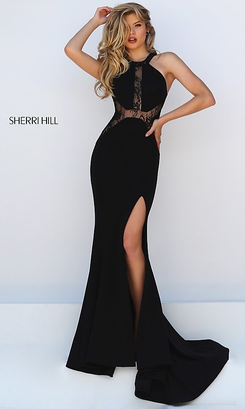 Image of Floor Length Black Lace Formal Gown Style: SH-50201 Detail Image 1