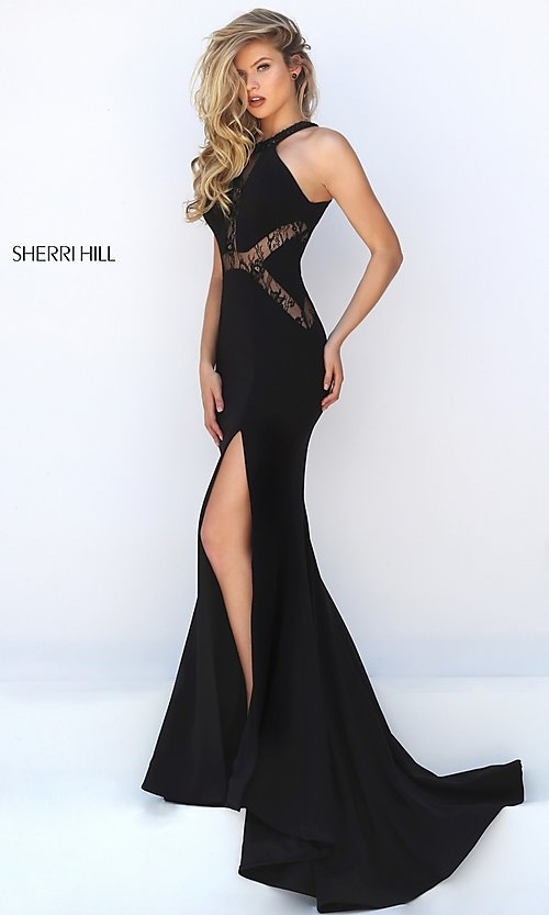Image of Floor Length Black Lace Formal Gown Style: SH-50201 Detail Image 2