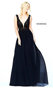 Image of Sherri Hill long formal gown with lace bodice. Style: SH-50255 Detail Image 2